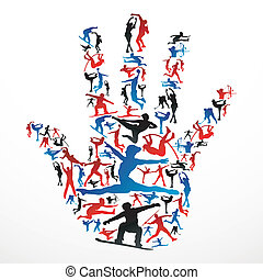silhouetten, sport, hand