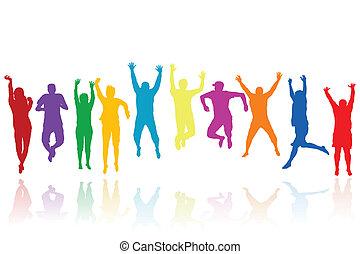 silhouetten, springende , gruppe, junge leute