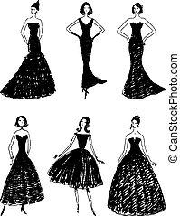 silhouetten, vektor, abend, schlank, frauen, zeichnungen, kleider