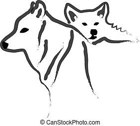silhouetten, vektor, hunden, wolfs, oder