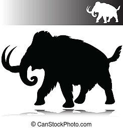 silhouetten, vektor, mammut