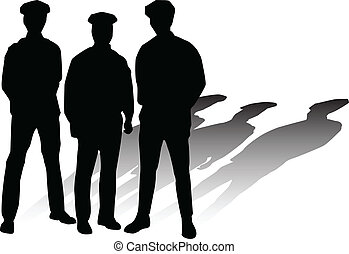 silhouetten, vektor, polizei