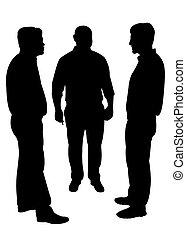 Silhouetten von drei Männern stehen a.