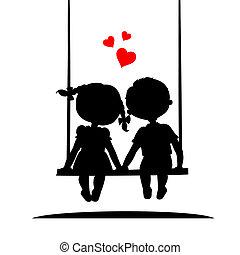 Silhouetten von einem Jungen und Mädchen.