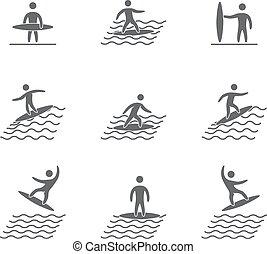 Silhouetten von Figuren Surfer Symbole gesetzt