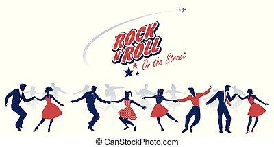 Silhouetten von jungen Paaren, die 50 Kleider tragen, tanzen Rock and Roll.