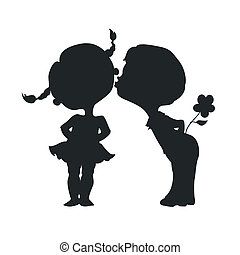 Silhouetten von küssenden Jungen und Mädchen.