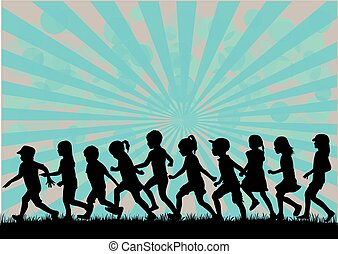 Silhouetten von Kindern, die rennen.