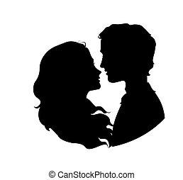 Silhouetten von liebenden Paaren