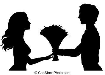 Silhouetten von Mann und Frau.
