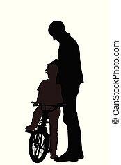 Silhouetten von Vater mit Sohn.eps