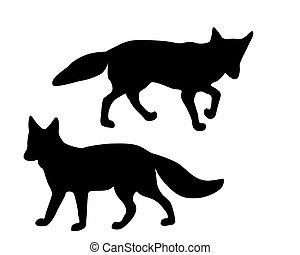 silhouetten, weißes, schwarz, zwei, füchse