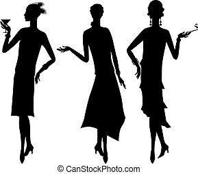 Silhouettes aus dem Stil von 1920.