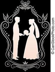 Silhouettes der Braut und des Bräutigams