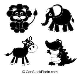 Silhouettes flicken Tiere
