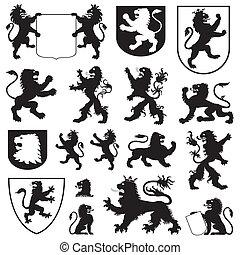 Silhouettes heraldischer Löwen