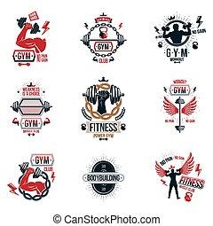 silhouettes., logotypes, gewichte, hanteln, begeisternd, koerper, thema, fitness, scheibe, ausrüstung, vektor, muskulös, geschaffen, workout, sammlung, sport, sportler, hanteln, plakate