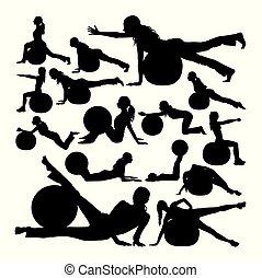 silhouettes., pilates, frau, kugel, übung