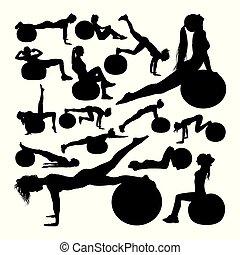 silhouettes., schöne , fitness, frau