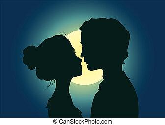 Silhouettes von Küssen