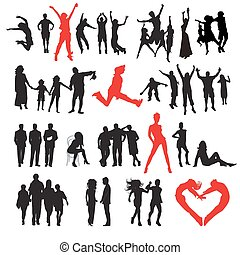 Silhouettes von Menschen: Geschäft, Familie, Sport, Mode, Liebe