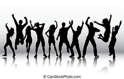 Silhouettes von tanzenden Menschen