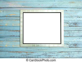 Silve Vintage Bildrahmen auf blauem Holzhintergrund