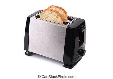 Silver Toaster isoliert auf weißem Hintergrund.