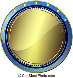Silvery and blue award (vector EPS 10)