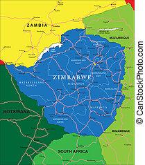 simbabwe, landkarte