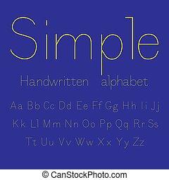 simple., alphabet., handgeschrieben