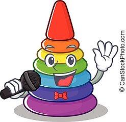 singende, pyramide, glücklich, spielzeug, mikrophon