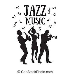 singer., 60, musiker, trompete, 50, oder, saxophonist, jazz, spieler, stil, orchestra., silhouetten, frau, afrikanisch