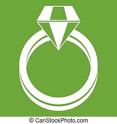 Single Diamond Ring Icon grün.