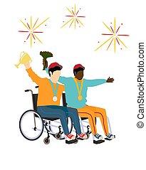 sitzen, athleten, wheelchairs., zwei, vektor, zeichnung, medaillen, disabilities.