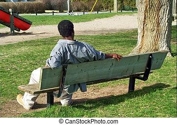 sitzen, parkbank