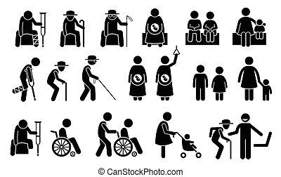 Sitzplätze und Sitzplätze für Bedürftige.