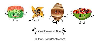 skandinavisch, satz, characters., cuisine., national, manga, salad., kawaii, dishes.