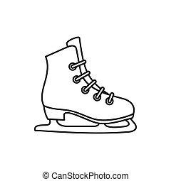 Skates Ikone, umrissener Stil.