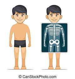 skeleton., junge, stil, schirm, zwei, vektor, karikatur, röntgenaufnahme