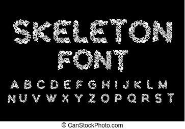 Skeleton-Schrift. Briefe Anatomie. Pille ABC. Schädel und Wirbelsäule. Jaw und Beckvis. Ein unheimliches Alphabet