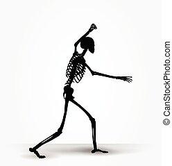 Skeleton-Silhouette in einschüchternde Pose.