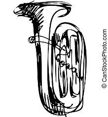 Sketch des Musikinstruments der Kupferröhre