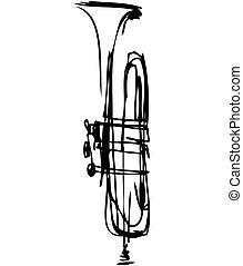 Sketch des Musikinstruments für Kupferrohre