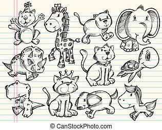 Sketch-Doodle-Tiere-Vektor eingestellt