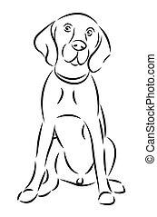 Sketch eines Hundes, isoliert auf weiß.