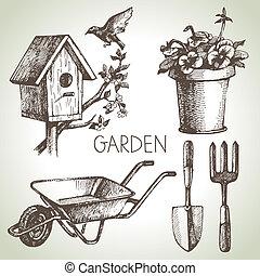 Sketch Gartenset. Hand gezeichnete Designelemente