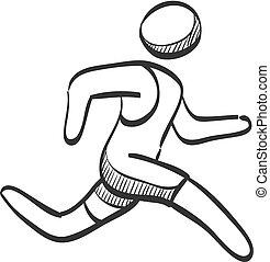 Sketch Icon - laufender Athlet