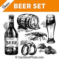 Sketch Oktoberfest mit Bier. Hand gezeichnete Illustrationen