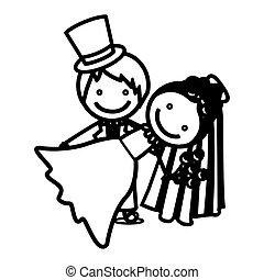 Sketch Silhouette Paar Hochzeit Ikone.